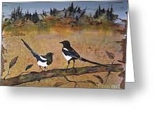 Magpies In The Last Of Autumns Leaves Greeting Card by Carolyn Doe
