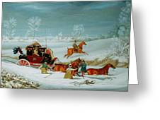 Mail Coach In The Snow Greeting Card by John Pollard