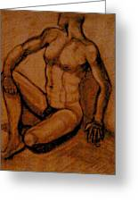 Male Nude Rust Greeting Card by Cj