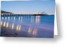 Malibu Pier Reflections Greeting Card by Adam Pender