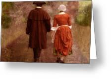 Man and Woman in 18th Century Clothing Walking Greeting Card by Jill Battaglia