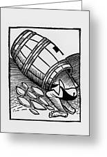 Man Collecting Tartar From A Empty Wine Barrel Greeting Card by