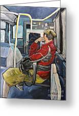 Man On 107 Bus Verdun Greeting Card by Reb Frost