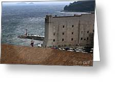 Man On The Roof In Dubrovnik Greeting Card by Madeline Ellis