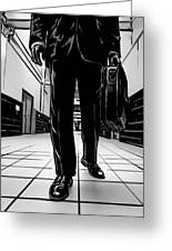Man With Briefcase Greeting Card by Giuseppe Cristiano