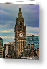 Manchester Town Hall Greeting Card by Heather Applegate
