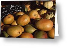 Mangoes And Melons Priced In Euros Greeting Card by David Evans