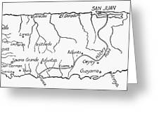 Map Of Puerto Rico, 1899 Greeting Card by Granger