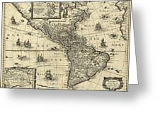 Map Of The Americas 1640 Greeting Card by Photo Researchers