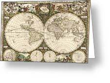 Map Of The World, 1660 Greeting Card by Photo Researchers