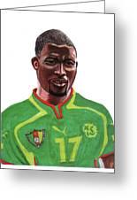 Marc Vivien Foe Greeting Card by Emmanuel Baliyanga