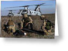 Marines And Sailors Being Transported Greeting Card by Stocktrek Images
