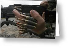 Marines Prepare The M-240g Medium Greeting Card by Stocktrek Images