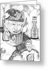 Martin Brodeur Sports Portrait Greeting Card by Marty Rice