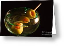 Martini Cocktail with Olives in a Green Glass Greeting Card by ELITE IMAGE photography By Chad McDermott