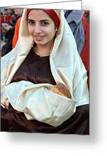 Mary And Baby Jesus At The Christmas March In Bethlehem Greeting Card by Munir Alawi