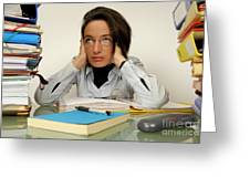 Mature office worker sitting at desk with piles of folders Greeting Card by Sami Sarkis