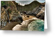 Mcway Falls Hwy 1 California Greeting Card by Connie Cooper-Edwards