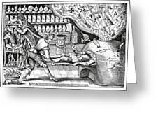 Medical Purging, Satirical Artwork Greeting Card by