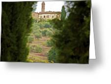 Medieval Church of Tuscany Greeting Card by David Letts