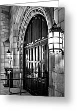 Memorial Hall Entrance Greeting Card by Steven Ainsworth