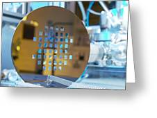 Mems Production, Machined Silicon Wafer Greeting Card by Colin Cuthbert