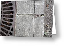 Metal Grate On Sidewalk Greeting Card by Paul Edmondson