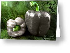 Metal Peppers Greeting Card by Cheryl Young