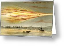 Meteorite Explosion, Historical Artwork Greeting Card by Detlev Van Ravenswaay