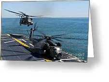 Mh-53e Sea Dragon Helicopters Take Greeting Card by Stocktrek Images