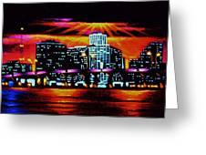 Miami By Black Light Greeting Card by Thomas Kolendra