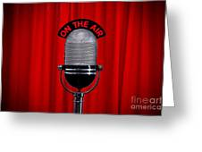 Microphone On Stage With Spotlight On Red Curtain Greeting Card by Richard Thomas