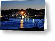 Midnight Marina Greeting Card by Tazz Anderson