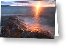 Midnight Sun Over Vågsfjorden Greeting Card by Arild Heitmann