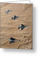 Military Fighter Jets Fly In Formation Greeting Card by Stocktrek Images