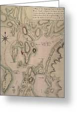 Military Plan Of The North Part Of Rhode Island Greeting Card by English School
