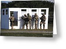 Military Reserve Members Prepare Greeting Card by Michael Wood