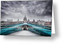 Millenium Bridge London Greeting Card by Martin Williams