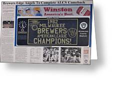 Milwaukee Brewers 1982 Al Pennant Greeting Card by Marc Yench