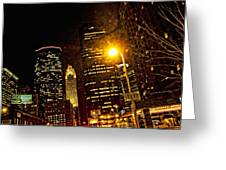 Minneapolis Night Lights Greeting Card by Susan Stone