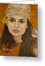 Miss Autumn Marigold Greeting Card by Veronica Coulston