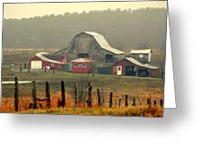 Misty Barn Greeting Card by Marty Koch