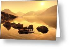 Misty Lake Greeting Card by Svetlana Sewell