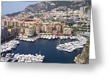 Monaco Harbour Greeting Card by Marlene Challis