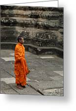 Monk At Ankor Wat Greeting Card by Bob Christopher