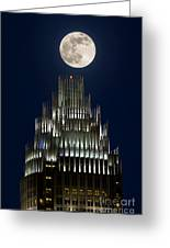 Moon Over Bank Of America Greeting Card by Patrick Schneider