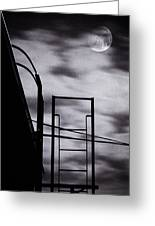 Moon Over Brooklyn Rooftop Greeting Card by Gary Heller
