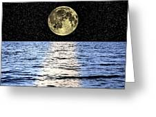 Moon Over The Sea, Composite Image Greeting Card by Victor De Schwanberg