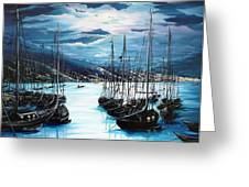 Moonlight Over Port Of Spain Greeting Card by Karin Best