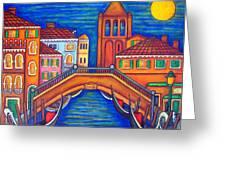 Moonlit San Barnaba Greeting Card by Lisa  Lorenz
